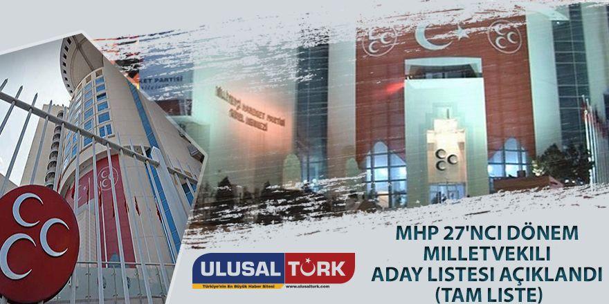 MHP 27'nci Dönem milletvekili aday listesi açıklandı (Tam Liste)