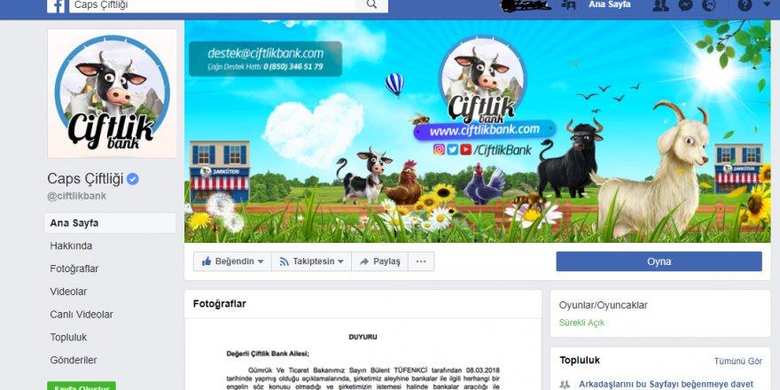 Ciftlik Bank resmi Facebook sayfasını ismini değiştirip tekrar yayına koydu
