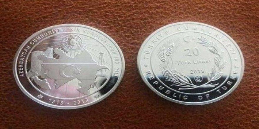 Kardeş Devlet Azerbaycan'ın 100. yılı anısına hatıra para basıldı