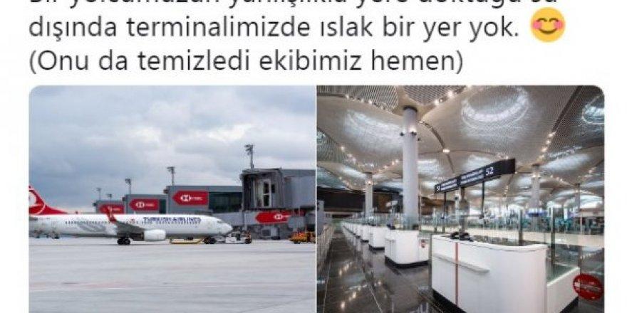 İstanbul Havalimanı'nı su bastı diyenlere cevap geçikmedi