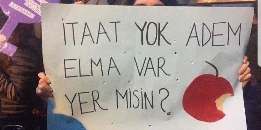 8 Mart Taksim yürüyüşünde ilk peygamber Hz Adem a.s ile dalga geçtiler