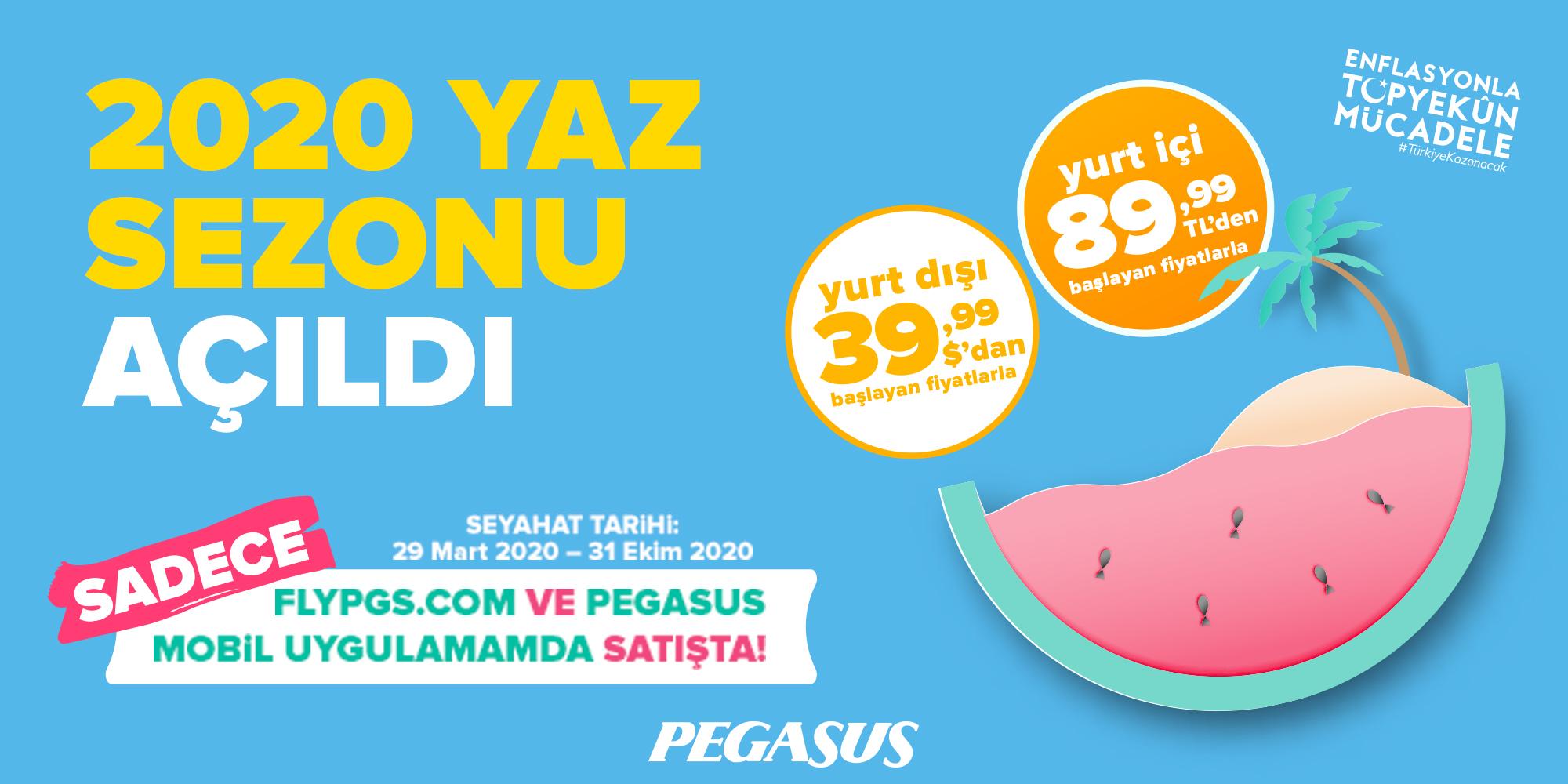 Pegasus Hava Yolları 2020 yaz sezonu  biletlerini satışa sundu