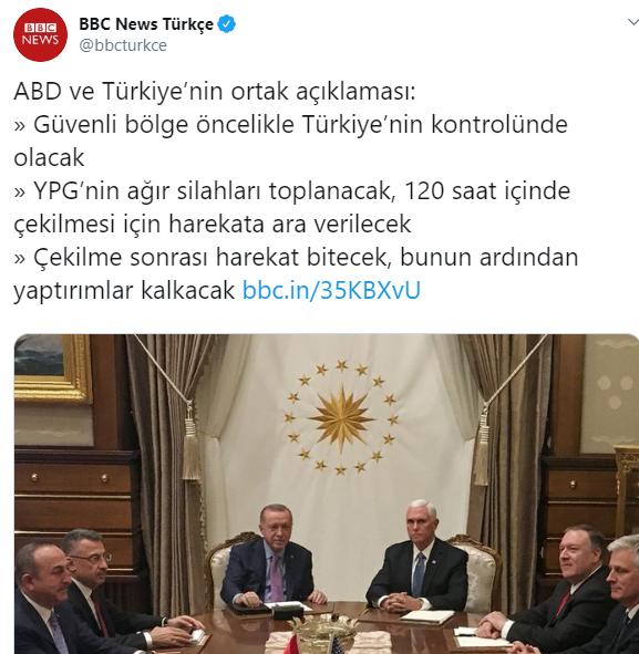 Türkiye ile ABD Suriye'de ateşkes için ortak açıklamada bulundu