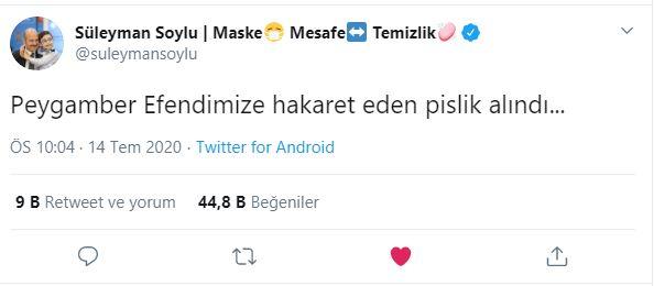 """Bakan Süleyman Soylu """"Peygamber Efendimize hakaret eden pislik alındı..."""""""