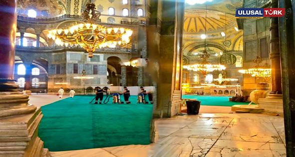 Hazırlıkları sona gelinen Ayasofya Camii'den ilk görüntüler