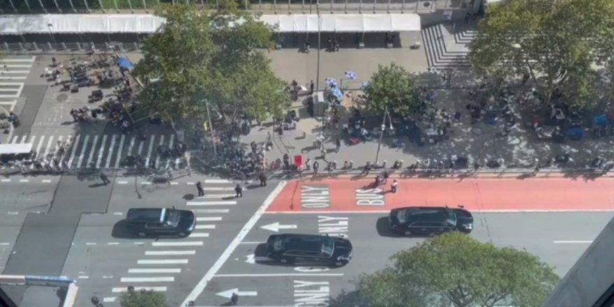 Joe Biden'nin BM bınasına giderken dev konvoyu