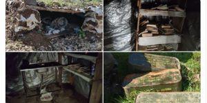 Hakurk'ta devam eden arama-tarama faaliyetlerinde terör örgütüne ait çok sayıda malzeme imha edildi.